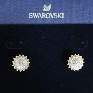 Swarovski earrings rose gold with clear crystals